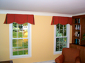 Box pleated valance with scalloped bottom installed in Westchester, New York